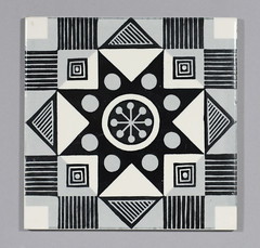 Geometric Carter tile (robmcrorie) Tags: white black geometric modern century tile ceramic grey read 1950s dorset carter alfred 1960s mid poole 1964 mcm centry