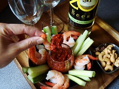 Shrimp Cocktail with Muhammara (ComeUndone) Tags: cinnamon cucumber walnut shrimp snack garlic oliveoil cumin redpepper shrimpcocktail happyhour aleppo glutenfree aleppopepper antiinflammatory smokedpaprika roastedredpepper muhammara pomegranatemolasses
