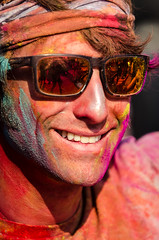 Holi festival, Kathmandu, Nepal (Andrew Taylor Photography) Tags: nepal portrait people man colour sunglasses festival celebration kathmandu subject colourful festivity holi durbarsquare happyholi basantapurdurbarsquare colouredpowder playholi