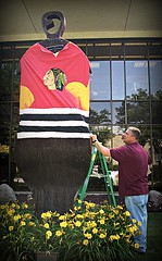 Here Come the Hawks, the mighty Blackhawks (Villa Park Public Library) Tags: hockey statue illinois sweater stanleycup metamorphosis publiclibraries dupagecounty chicagoblackhawks libraryart villaparkil villaparkpubliclibrary
