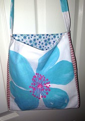 Another cheeky book bag / library tote (Chickpeap) Tags: pink flower cuzco bag book linen turquoise library stripe canvas strap tote lined