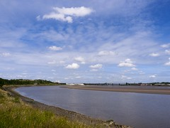 Mersey View (Paul Thickitt) Tags: travel water clouds reflections river landscape coast country coastline lowtide mersey coastalpath runcorn merseyside widnes oldbridge rivermersey runcornbridge halebank