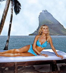 Different background (seeviewer) Tags: blue sky woman house mountain seascape tree castle water fashion clouds photoshop island model background fake babe palm resort bikini swimsuit replace