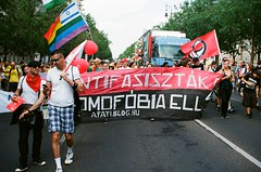 Budapest Pride parade (habeebee) Tags: street red people black scarf israel ellen big rainbow hungary action politics budapest banner protest large pride flags parade celebration demonstration gaypride afa antifascist participants magyarország meleg homofóbia felvonulás büszkeség antifasiszták
