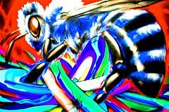Bee Crazy (Thomas Hawk) Tags: sanfrancisco california goldengatepark usa insect graffiti unitedstates unitedstatesofamerica bee honeybee musicfestival outsidelands outsidelands2012