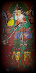 Warrior (Keith Mac Uidhir  (Thanks for 3m views)) Tags: door wood blue red white green art yellow painting asian religious temple wooden asia fighter buddha buddhist south religion buddhism korea doorway korean seoul sword warrior bongeunsa