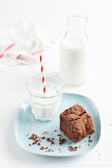 Chocolate Brownie (lilit) Tags: red stilllife food brown white glass cake vertical closeup dark dessert milk bottle sweet linen chocolate napkin straw tasty plate nobody towel gourmet delicious whitebackground eat homemade slice bakery snack meal pastry sweets brownie crumbs piece cocoa bake isolated brownies baked bakedgoods cocoapowder teatowel homebaked chocolatebrownies sweetfood blinkagain