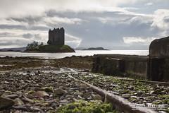 Tracks to the Water's Edge (DMeadows) Tags: sea sky cloud seaweed castle beach water port island coast scotland seaside track fort tide lion tracks rail pebble highland coastal stalker rails remote fortress rampant appin davidmeadows dmeadows davidameadows dameadows