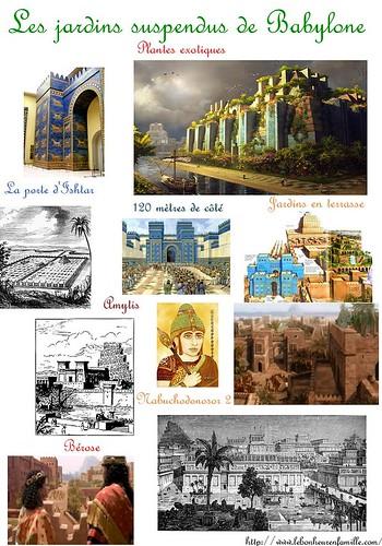 AAAAAAAAAfiche merveilles du monde, colosse de Rhodes jardins suspendus de Babylone