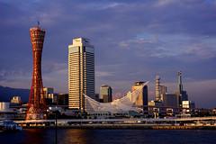 Kobe (JohnnyLCY) Tags: sunset red sky water port day purple cloudy sony kobe ue
