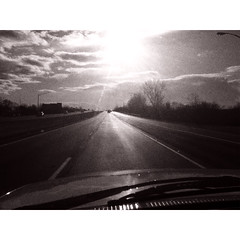 The Road (vince_hamilton) Tags: blackandwhite bw sun white black highway driving low freeway resolution