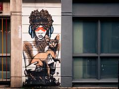 Canine-Feline (ShrubMonkey (Julian Heritage)) Tags: urban woman brick london tower art cat graffiti feline cheshire canine lane borough dac fin hamlets