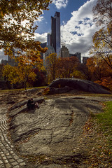 A Quiet Moment in the Big City (gimmeocean) Tags: nyc newyorkcity ny newyork canon centralpark fallfoliage 7d flare autumnalcolor hdr essexhouse handheldhdr canonef1635mmf28liiu
