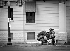 Time to move on (L E Dye) Tags: winter bw canada building nikon edmonton homeless alberta lemarchandmansion d5100 ledye 113picturesin2013 19depressingorsorrowful