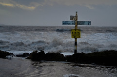 Standing at the crossroads trying to read the sign (jaygamal) Tags: sea storm flood lakedistrict cumbria floods hightide solway allonby springtide mawbray cumbriawestcoast january3rd2014 unusualweatherconditions