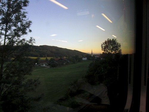 Tirol by train at sunset