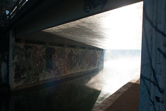 Light hitting graffiti (benbrooks1111) Tags: lighting street morning travel bridge original winter light sun mist abstract cold reflection art dusty geometric water lines rose misty fog wall modern contrast sunrise canon river dark underpass concrete eos graffiti canal industrial different crossing darkness bright path walk foggy angles sigma sunny gloucestershire follow steam sharp adventure sidewalk commercial shade gloucester wait mystical lit straight stroud edges canoneos400d