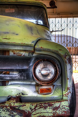 Tons Of Character (Eddie Yerkish) Tags: old green abandoned truck drive route66 nikon rust driving character garage pickup mater transportation vehicle tow hdr d7100