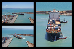 into port (Burnt Out Chevrolet) Tags: ocean new blue red 3 water port grey bay harbor three boat moving dock ship pacific harbour sony hill gray vessel cargo container zealand nz series guide tug alpha sequence shipping a200 napier kota bluff lukis guiding hawkes kotalukis