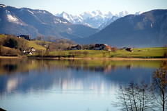 Irrsee (Austria) (armxesde) Tags: lake snow mountains reflection water austria see sterreich wasser pentax spiegelung k5 salzkammergut irrsee zellersee mygearandme mygearandmepremium