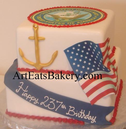 Phenomenal Two Tier Square Custom Red White And Blue U S Navy Birthday Cake Funny Birthday Cards Online Inifodamsfinfo