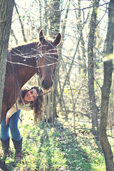 (Arianna Mameli) Tags: wood trees light horse nature girl fun friendship natural hide