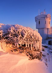 Rime covered icicles (rightthewrong) Tags: park new morning white snow mountains tower ice weather rock sunrise observation washington mt state peak nh hampshire presidential clear mount observatory pile instrument icicle summit april rime range icicles anemometer apr obs 2014 mwo presidentials