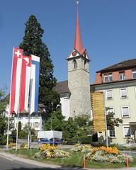 Weggis, Central Switzerland (jag9889) Tags: church schweiz switzerland europe suisse suiza luzern flags alpine svizzera lucerne ch weggis 2011 innerschweiz zentralschweiz centralswitzerland kantonluzern cantonlucerne jag9889