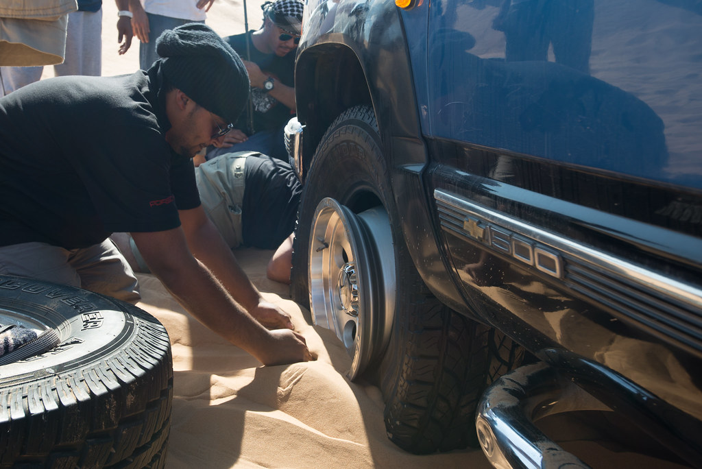 Fixing a flat in the sand