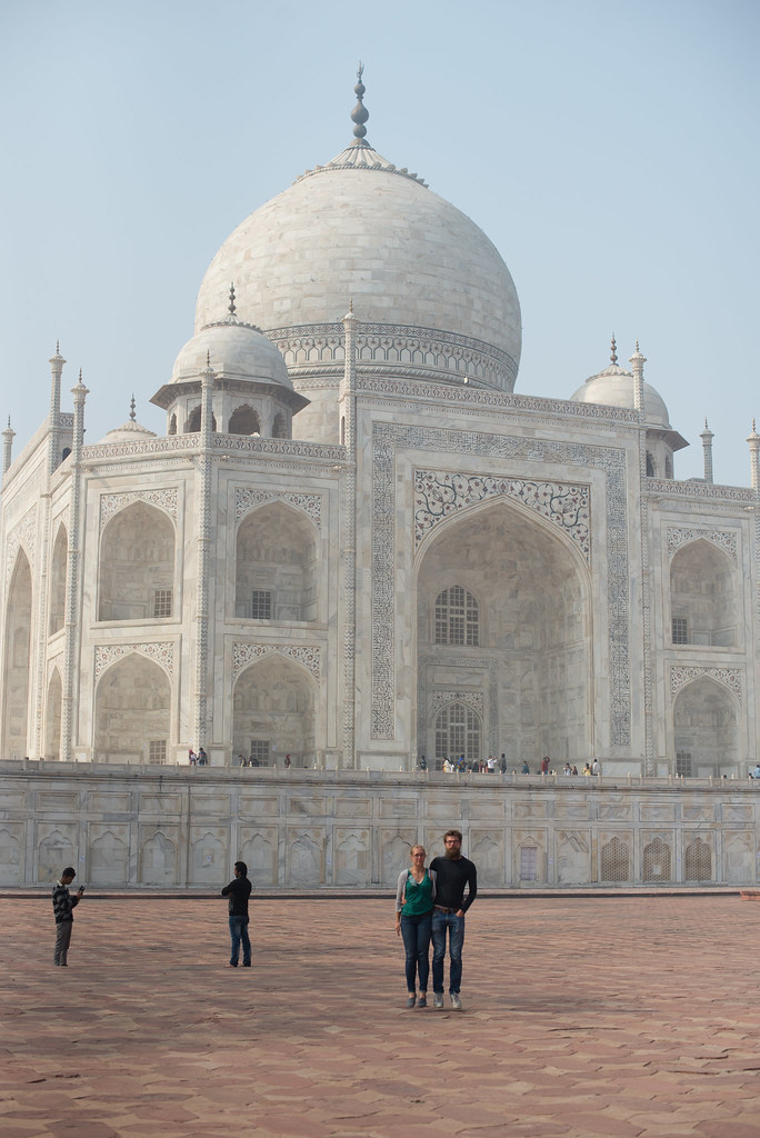 Floating in front of the Taj Mahal
