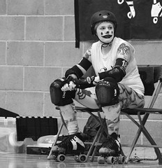 In the Bin - Brighton Rockers (115) (Malcolm Bull) Tags: mono brighton clown bin sin roller derby rockers include 20150207roller0115edited1web
