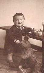Fun with Bear (TrueVintage) Tags: boy portrait toy 1930s kid teddy kind teddybear oldphoto foundphoto spielzeug junge teddybr plaything vintagephoto vintagekid vintageboy vintageportrait