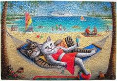 Kool Kat Kruise (Don Roth) (Leonisha) Tags: beach strand cat chat puzzle hammock katze cruiser kreuzfahrtschiff hngematte jigsawpuzzle