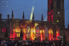 The Blitz of Merseyside remembered (alun.disley@ntlworld.com) Tags: longexposure people building tower art church night liverpool war audience religion clocktower lightshow derelict lightbeams blitzkrieg projections stlukeschurch thebombedoutchurch