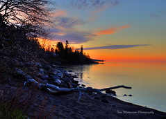 Lake Superior Sunrise (Tom Mortenson) Tags: morning sky usa nature minnesota digital america sunrise canon landscape geotagged dawn midwest scenery country shoreline scenic greatlakes shore northamerica canoneos lakesuperior hdr grandmarais northwoods photomatix 24105l tonemapping canon6d