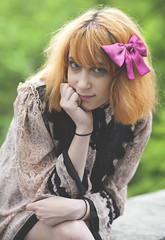 (sarajdsign) Tags: light orange fashion japan hair big model natural headshot bow harajuku