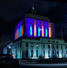 alameda county courthouse illuminated in warrior's colors for the nba playoffs (pbo31) Tags: california city blue panorama house color green colors night court gold oakland spring nikon downtown hometown champs may large panoramic illuminated lakemerritt bayarea playoffs courthouse warriors eastbay nba stitched alamedacounty 2016 boury pbo31 d810