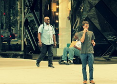 Homeless and Hungry in Chicago (Renee Rendler-Kaplan) Tags: city morning people 3 men sunglasses sign june canon reflections bag outside outdoors three sitting sidewalk storefront sit backpack signage headphones michiganavenue bluejeans dudes seated milkcrate wbez streeterville consumerist chicagoillinois ignored chicagoist 2016 chicagoreader peoplewalking frommycarwindow peoplesitting haves havenots imjusthungry reneerendlerkaplan canonpowershotsx530hs