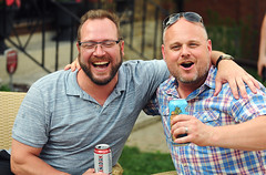 Buddies with Beer (Poocher7) Tags: portrait music ontario canada beer sunglasses laughing fun glasses sitting buddies cerveza lawn relaxing drinking beards guys kitchener canadian bier cerveja poloshirt neighbours birra goodlooking bia lager l middleage streetparty  plaidshirt   canadianbeer serbesa  armandarm  molsoncanadianlager hohnerporchparty