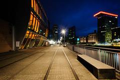 Rails @ Night (Dustpuppy72) Tags: outdoor nightshot medienhafen dsseldorf nikond300 afsdxnikkor1024mmf3545ged longtimeexposure