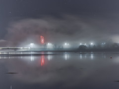 Mist Swirling Around The National Carillon Lit Up in Red - Kingston - ACT - 20160615 @ 05:11 (MomentsForZen) Tags: fog mist reflections lakeburleygriffin lake lights carillon nationalcarillon red dark night lightroom hasselblad500cmcfv50c hasselblad momentsforzen kingston australiancapitalterritory australia au