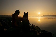 Selfie with Man's best friend (Tmuussoni) Tags: light shadow dog sun seascape bird beautiful rock fog sunrise finland scenery turku selfie ruissalo ilobsterit