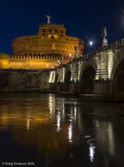 Nightscene of Castel Saint Angelo, Rome. 22nd May 2016. (craigdouglassimpson) Tags: italy rome colour castles water reflections bridges rivers tiber nightscene castelsaintangelo pontesaintangelo