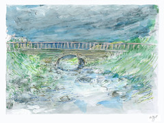 Wolfram Zimmer: Small bridge - Kleine Brcke (ein_quadratmeter) Tags: pencil painting landscape drawing kunst brush exhibition dessin peinture exhibitions improvisation colored freiburg landschaft bleistift ausstellung zeichnung kirchzarten malerei bleistiftzeichnung pinsel meinzimmer konzeptkunst ausstellungen objektkunst farbstiftzeichnung burgbirkenhof wolframzimmer