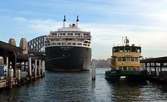 QM2 stern photomerge 1 (PhillMono) Tags: cruise reflection ferry boat dock nikon ship friendship harbour sydney australia vessel quay line dslr stern cunard circular d7100