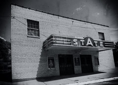 The State (Pete Zarria) Tags: illinois cinema movietheater film palace hollywood star marquee sign neon bw mono outdoors architecture smalltown