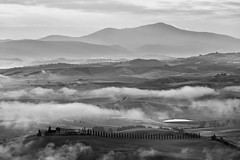 Val d'Orcia (Martin Zurek) Tags: sky mountain nature monochrome clouds landscape valley tuscany valdorcia canon5dsr 5dsr