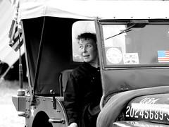 US Camp WWII pageant - Portrait (patrick_milan) Tags: street people blackandwhite bw woman white black girl monochrome lady us noir noiretblanc flag femme wwii nb dame rue fille blanc personne streetview gens breton