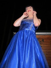Feminine folds (Paula Satijn) Tags: blue girl lady happy shiny dress joy silk skirt tgirl gown satin gurl ballgown