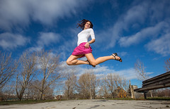 Leap into the week. (Flickr_Rick) Tags: woman girl jump jumping jamie legs bluesky skirt brunette jumpology